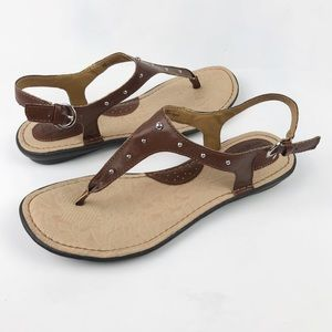 Boc Born Candia T-Strap Studded Sandals Brown 8